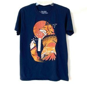 Black Matter Tee Graphic Blue Orange Japanese Fox